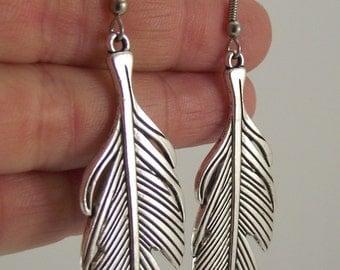 Bold Pewter Feather Earrings, Silver Earrings