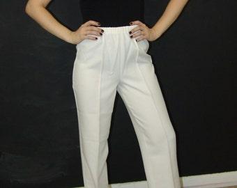 Vintage White Sport PANTS, 1970s