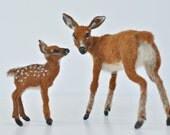 Needle Felted   Animals-  Mother-deer and a fawn.Made to order