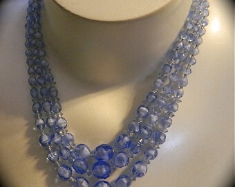 Vintage Milky Blue and White Glass Three Strand Torsade Necklace: Blue Skies Ahead