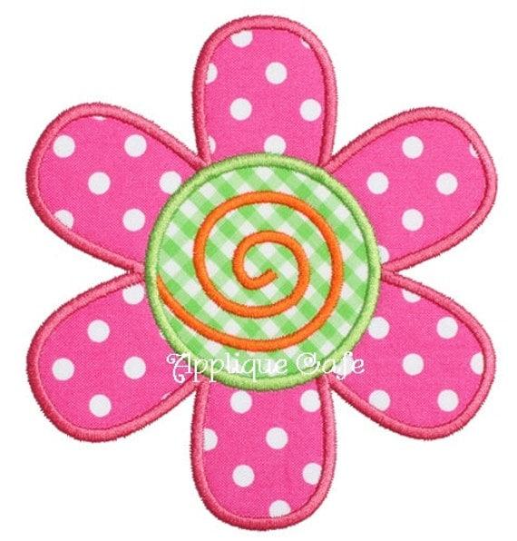 Flower machine embroidery applique design