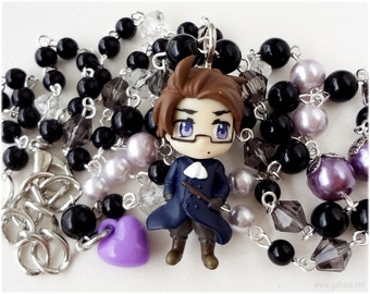 Austria Rosary Necklace, Black and Purple Beaded Chain in Silver - Anime, Hetalia Axis Powers