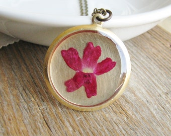Verbena Flower Necklace Pressed Flower Botanical Resin Jewelry Bridal Pink Nature Inspired Garden Lover Gift Resin Real Flower Pendant