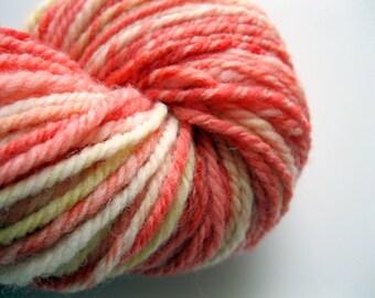 Hand dyed yarn, Handspun Polworth wool yarn, Strawberry Lemonade, 198 yards - 3 ply - knitting yarn - indie - crocheting yarn -  coral