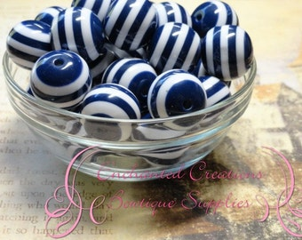20mm Navy Blue and White Striped Beads Qty 10