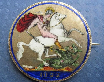 Antique Queen Victoria Silver Enamel Saint George Slaying Dragon Coin Brooch Pin Jewelry
