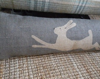 hand printed blue grey leaping hare bolster