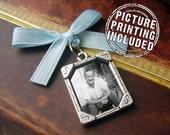 Wedding Day Memorial Photo Charm - Silver w/ Cut Corners - Includes Picture Printing Service