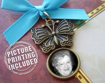 Wedding Day Memorial Photo Charm - Bronze Butterfly with Photo - Includes Picture Printing Service