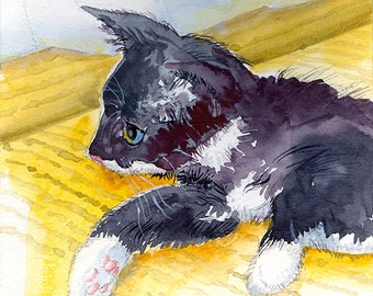 Tuxedo Cat Watercolor