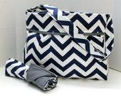 Monterey Chevron Diaper Bag Set - Medium - Navy Chevron and Grey or Custom Design Your Own