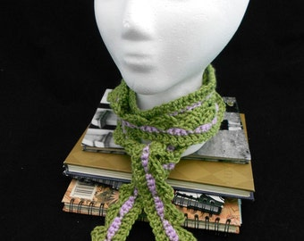 Super Long and Lean Crochet Neckwarmer Scarf in Sage Green and Lavender Recycled Yarn