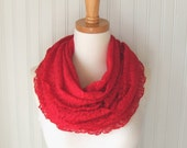 Winterberry Red Lace Infinity Scarf - Ruffled Lace Scarf Circle Loop Cowl - Winter Fashion Christmas Gift Idea