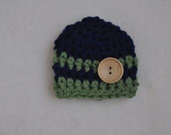 newborn photo prop boy, baby boy navy and green hat, chunky baby hat