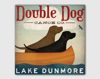 Customize Personalize Black Dog Canoe Company Stretched Canvas Wall Art - Signed Ready-to-Hang LABRADOR