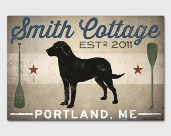 LAKE COTTAGE Dog CUSTOM Personalized  Stretched Canvas Wall Art Signed Ready to Hang