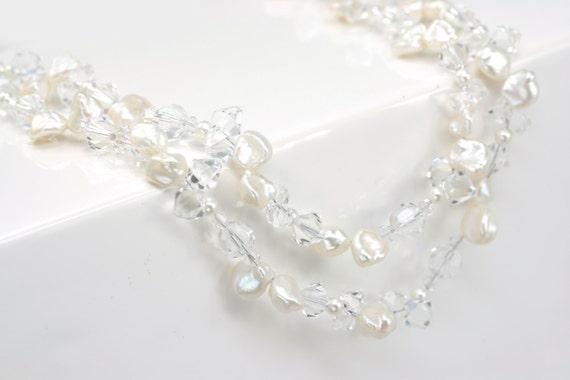 Freshwater Pearl Wedding Necklace, Beach Wedding Jewelry, Bridal Statement Necklace, Freshwater Pearl Necklace, Swarovski Crystal Necklace