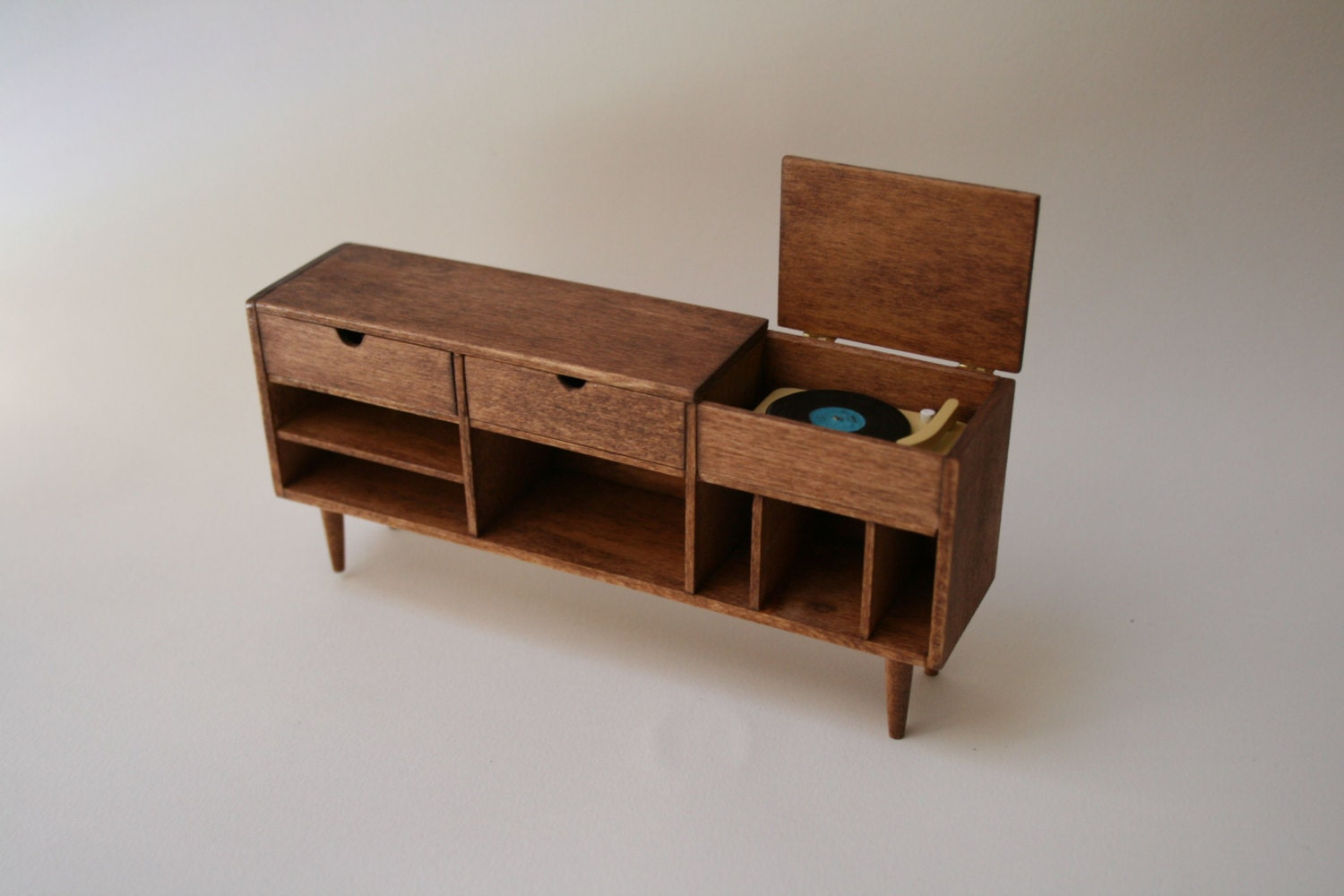 Miniature Mid Century Record Player Amp Credenza