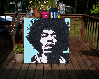 Wall Art - Glitter Art - Jimmy Hendrix - HUGE - 36x36 - Pop Art - Original