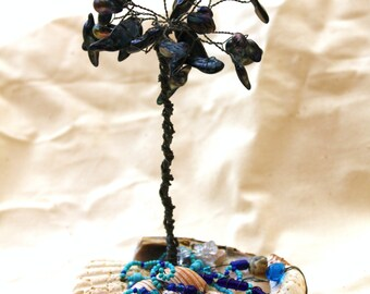 Abalone Blister Pearls on Shell and Glass Wire Tree Art