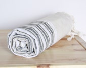 Bath Towel / Beach Towel , Turkish Bath Towel...Linen - Cotton PESHTEMAL Cream-Black