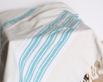 Bath Towel / Beach Towel , Turkish Bath Towel...Linen - Cotton PESHTEMAL Cream-Turquois