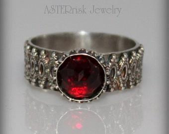 Ring - Red Garnet Sterling Silver