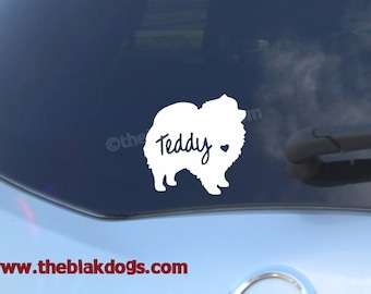 Pomeranian Silhouette Vinyl Sticker Car Decal Personalized