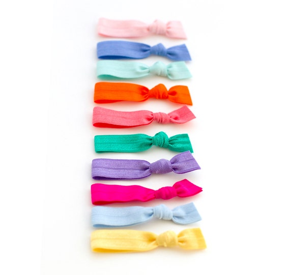 10 Assorted Mini Solid Elastic Hair Ties - Children Kids Babies - Fine Hair - Braids that Double as Bracelets by Mane Message on Etsy