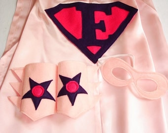 Children's Custom Superhero Personalized Kids Cape Including Matching Mask, and Wrist Cuffs