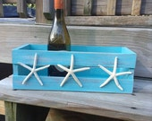 Beach house decor Shabby Chic Storage Crate with Starfish