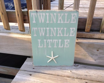 Beach Sign Twinkle Twinkle Little Starfish Nursery and Coastal Beach Decor
