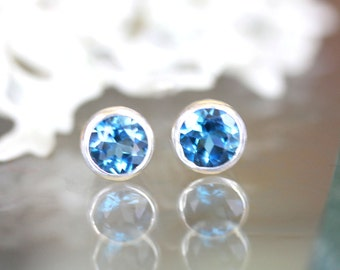 London Blue Topaz Sterling Silver Ear Studs, No Nickel / Nickel Free Studs, Birthstone, Gemstone - Made to Order