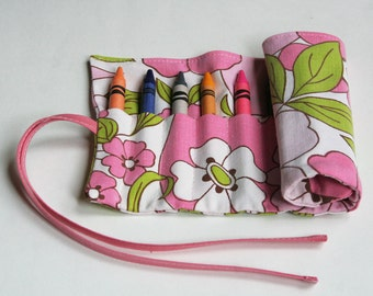 Crayon Roll, Children's Art Supplies, Arts and Crafts, Pretty in Pink, Handmade by Knotted Nest