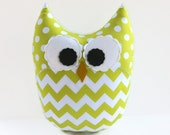 Large Chevron Owl Pillow Lime Green White Nursery Decor Ready to Ship