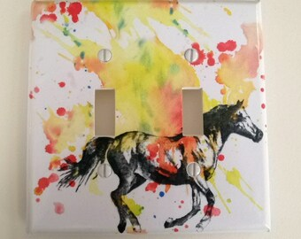 Running Horse Decorative Double Light Switch Cover Plate Great Children Kids Room Decor, And Every Horse Lover