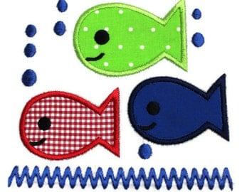 Three Fish Machine Embroidery Applique Design