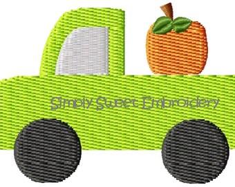 Pumpkin Truck Machine Embroidery Mini Design