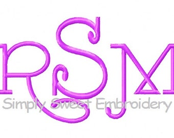 Curly Font 3 Machine Embroidery Monogram Font Design Set  3 sizes