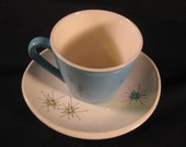 Set of 3 Retro Vintage Franciscan Starburst saucers and 3 Aqua Blue Heaven cups, TheRetroLife