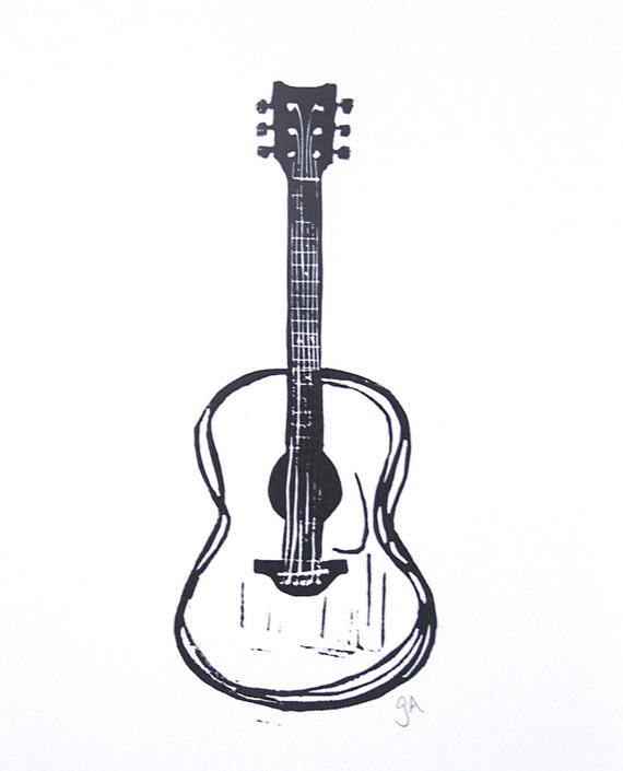 print black acoustic guitar linocut print 8x10 minimal