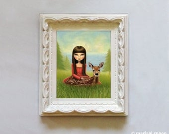 Girl and fawn - Adalaide print on somerset velvet - Woodland and sea art by Marisol Spoon