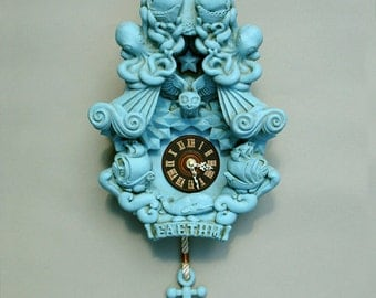 Cuckoo Clock wall clock art sculpture Turquoise Robins Egg Blue - Faethm Cuckoo by Marisol Spoon