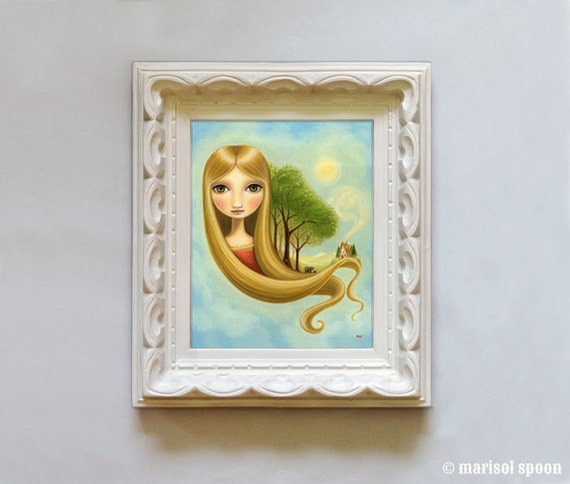 wall art print big eye Girl bears art print Goldilocks Rapunzel childrens room decor - 8x10 velvet - Woodland fairytale art by Marisol Spoon