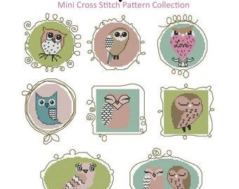 Artsy Owls Mini Cross Stitch PDF Chart