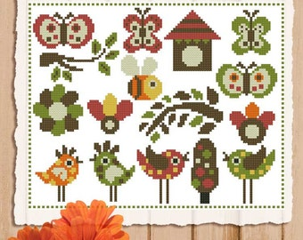 Retro Tweets Mini Sampler PDF Cross Stitch Chart