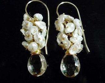 Pearl Cluster Earrings, Pearl Wedding Earring, Keshi Pearl Earring, Keishi Pearl Earring