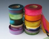 A Hanah Hand Dyed Silk Ribbon Collection,Hand Dyed Silk Ribbon, bias-cut 1 inch wide