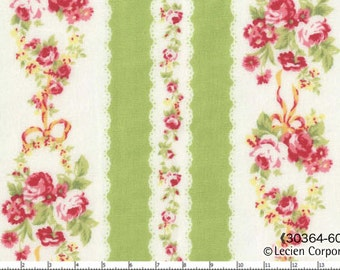 Flower Sugar Fabric by Lecien  Green Stripes and Roses on Cream  30364-60