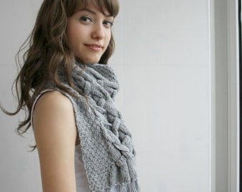 Gray Wool Special Design By DenizGunes Knit  Scarf Perfect Gift Under 75 For Women For Girl Friend Mothers Day Gift